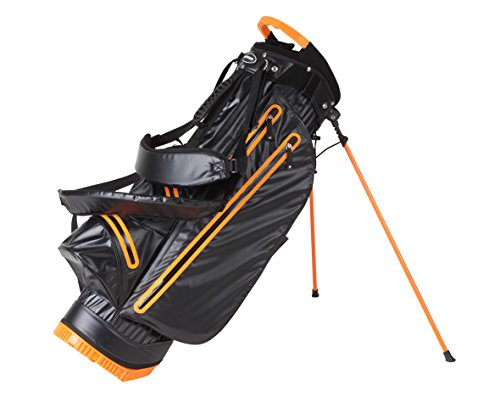 (ULTRA LITE WATERPROOF GOLF STAND BAG DRY POCKETS LIFT HANDLE ONLY 4.4 LBS! 4 COLORS AVAILABLE (BLACK/ORANGE))