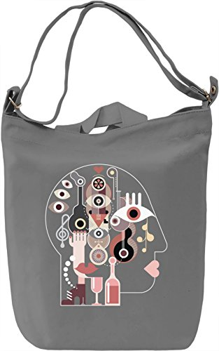 Abstract head Borsa Giornaliera Canvas Canvas Day Bag| 100% Premium Cotton Canvas| DTG Printing|