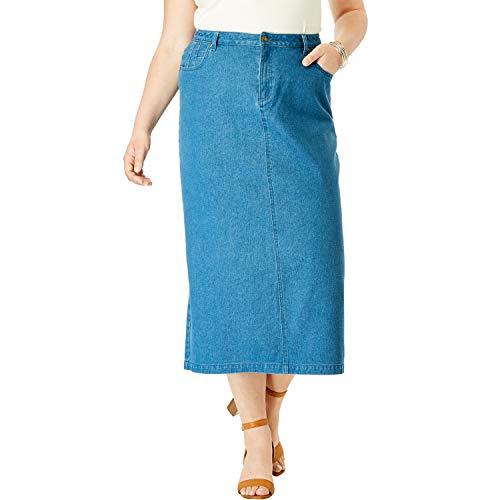 (Jessica London Women's Plus Size Classic Cotton Denim Long Skirt - Medium Stonewash, 16)