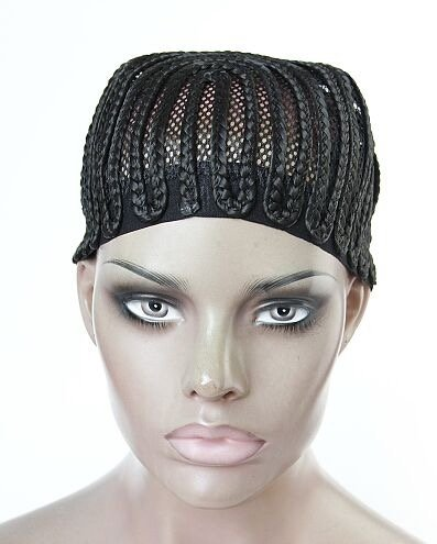 [V'Nice® 1 Pcs Per Lot Cornrows Cap for Easier Sew In,Braided Wig Caps Crotchet Black Color Spider Braiding Wig Cap with Elastic Lace (Medium] (Cornrow Wigs)