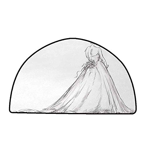 Anti-Fatigue Comfort Mat Bridal,Fairytale Ending of a Love Story Princess Sketchy Bride with Flowers Image,Black and White,W35