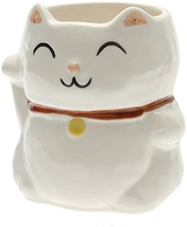 Amazon Com Maneki Neko Lucky Cat Mug Black 113 090 Coffee Cups Mugs