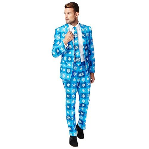 Men's Oppo Suits High-Quality Blue Suit with Snowflake Print