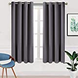 TEKAMON Blackout Curtains Room Darkening 2 Panels Set,Thermal Insulated Noise Reducing Window Drapes for Bedroom (W52 X L63 inch,Dark Grey)