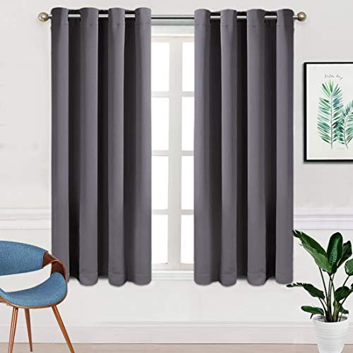 - TEKAMON Blackout Curtains for Bedroom Grommet 2 Panels Set Draperies,Thermal Insulated for Living Room,Nursery (W52 X L63 inch,Dark Grey)