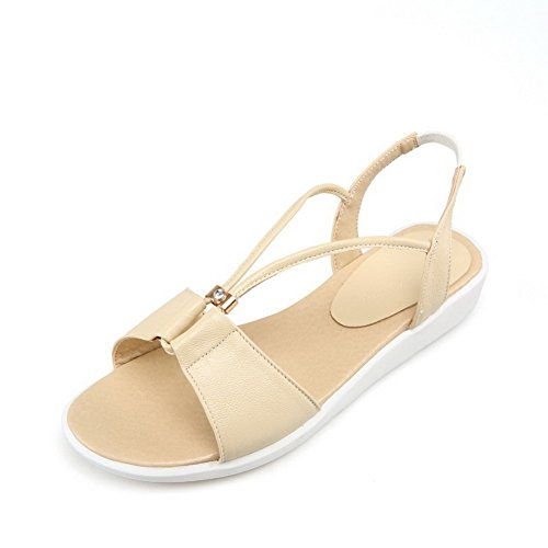 Leather Beige Toe Heels Solid Low Cow Open Womens On Sandals Pull AllhqFashion w4qt66