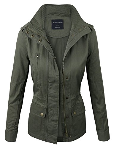 makeitmint Women's Zip Up Military Anorak Jacket