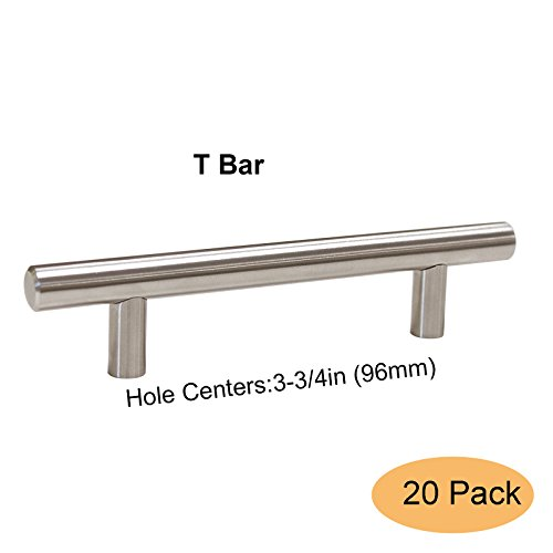 - Gobrico T Bar Kitchen Cabinet Handles 3-3/4in (96mm) Hole Centers Stainless Steel for Modern Drawer Dresser Pull -20 Pack