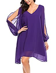 Se Miu Women Loose Dress Beach Casual Dress Cut Off Long Sleeve V Neck Asymmetric Hem Chiffon Purple