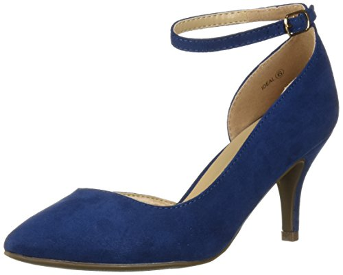DREAM PAIRS Women's Ideal Pump, Navy Suede, 9 M US (Rubber Sole Suede Pumps)