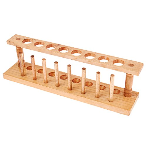 Homyl Lab Wooden Test Tube Storage Holder Bracket Rack with Stand Sticks - as Shown in The Display Pictures, 8 Holes