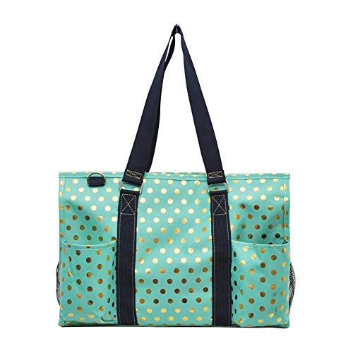 NGIL All Purpose Organizer Medium Utility Tote Bag 2018 Spring Collection (Gold Polka Dot Mint)