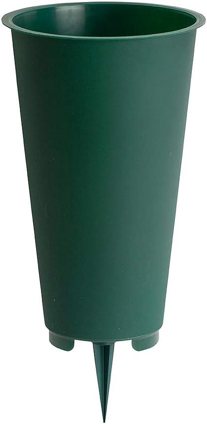 matches21 Grave Vase Slim Vase with Ground Spike Plastic Dark Green Grave Decoration 1 Piece Diameter 5 x 32 cm