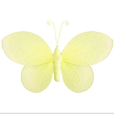 "Hanging Butterfly Medium 10"" Yellow Mikayla Nylon Mesh Butterflies Decorations Decorate Baby Nursery Bedroom Girls Room Ceiling Wall Decor Birthday Party Baby Shower Bathroom Kids Childrens 3D Art DIY : Nursery Decor Products"