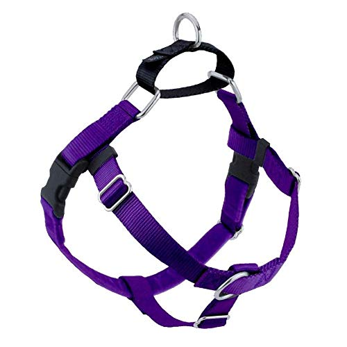 Wiggles Wags Whiskers Freedom No-Pull Dog Harness: Velvet Padding, Multi-function & USA Made! Lots of Sizes & Colors (Leash Not Included), Large Purple
