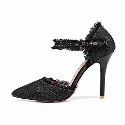 Mee Shoes Damen Stiletto Denim ankle strap Pumps Schwarz
