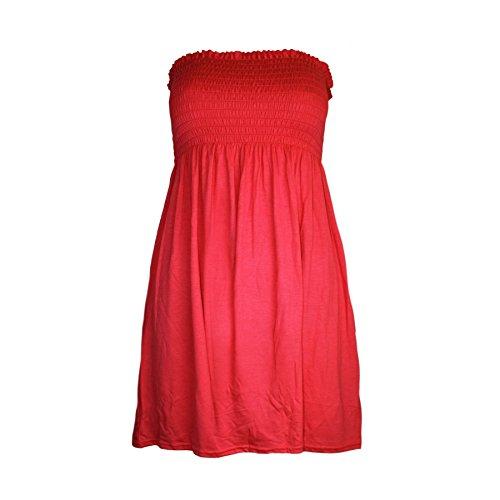 Janisramone para mujer Señoras Tallas Grandes Sheering boobtube palabra de honor sin tirantes superior del chaleco del vestido 8 22 Rojo