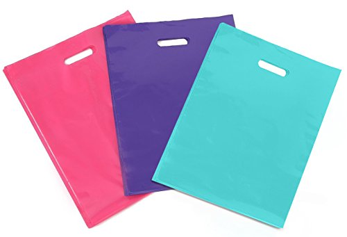 "[ 150 Count, 12"" X 15"" ] Extra Durable Glossy Pink / Purple / Tiffany Blue Merchandise Bags, Premium Plastic Retail, Gift, Party, Shopping Bags - PackItChic"
