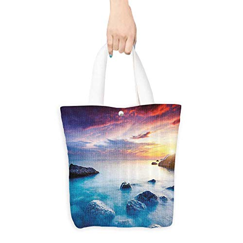 (Canvas Tote BagAmbesonne Seaside Decor Collection Majestic Summer Sunset Dramatic Overcast Sky Crimea Ukraine Shoreline Exotic View Polyester Fabric Bathroom Shower (W15.75 x L17.71 Inch) )