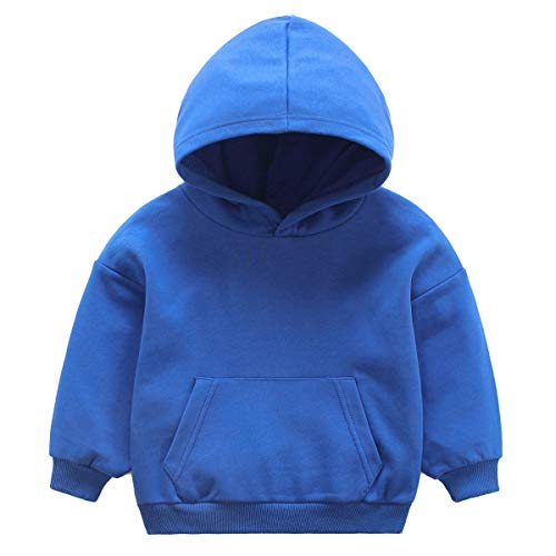 NANVII Baby Girl Boy Hoddie,Baby Pullover Cotton Hoodie with Pocket,Solid Hoodie for Infant Blue