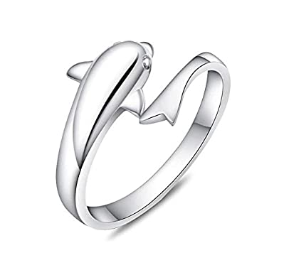 Creativelife Women's Lovely Dolphin Ring 925 Sterling Silver Color Fashion Open Finger Rings box