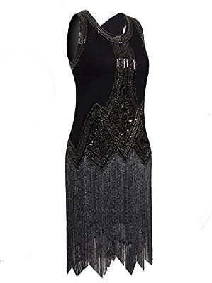Vijiv 1920s Vintage Beaded Fringed Inspired Roaring 20s Cocktail Flapper Dress