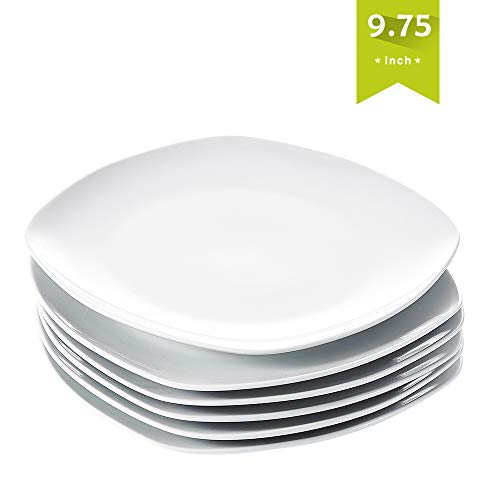 Malacasa Dinner Salad Plates Set, 6-Piece 9.75-Inch Porcelain Dessert Dishes, Series Elisa (Square Dinner White Plate)