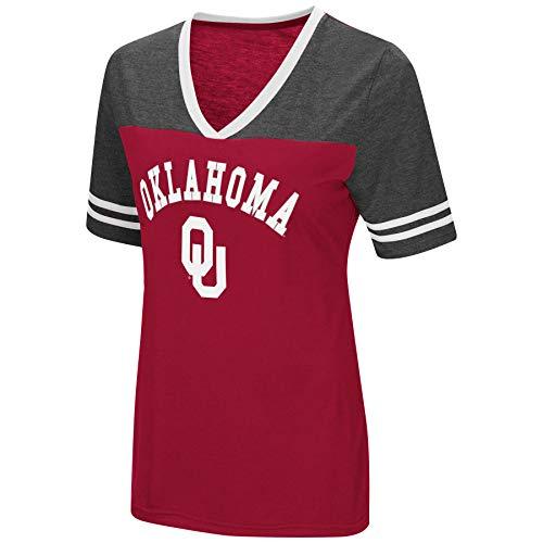 Colosseum Women's NCAA Varsity Jersey V-Neck T-Shirt-Oklahoma Sooners-Crimson-Large ()