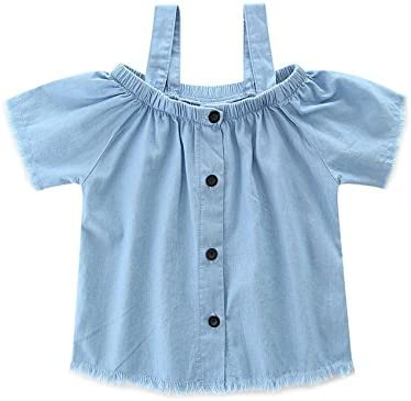 ZWINZ Family Matching Mommy and Me Off-Shoulder Straps T-Shirt Top and Denim Shorts Outfit