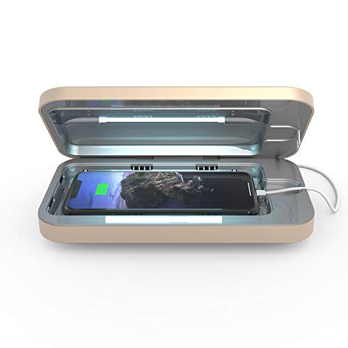 PhoneSoap 3 UV Cell Phone Sanitizer and Dual Universal Cell Phone Charger | Patented and Clinically Proven UV Light Sanitizer | Cleans and Charges All Phones - Light Gold