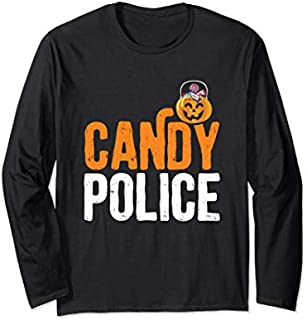Candy Police Happy Halloween Trick Or Treat Long Sleeve T-shirt | Size S - 5XL