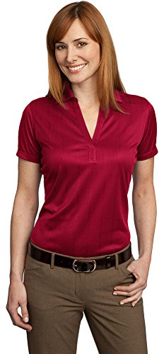 Port Authority Ladies Performance Fine Jacquard Polo, Rich Red, X-Large (E Performance Polo Jacquard)