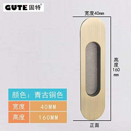 ZTZT Herrajes incrustados manijas puerta oculta puerta de madera manija de la puerta corredera manija de la puerta deslizante montada, bronce verde: Amazon.es: Bricolaje y herramientas