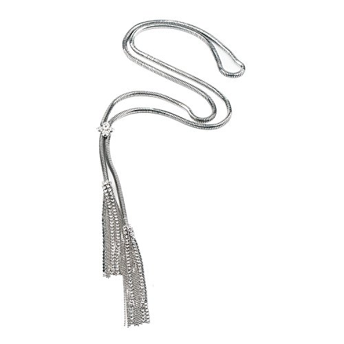 She Lian Vintage Y Long Chain Tassel Necklace for Women Costume Jewelry 30 Inch (White Gold ()