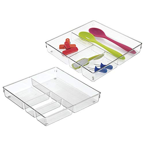 mDesign Square 4 Compartment Kitchen Cabinet Drawer Organizer Tray - Divided Sections for Cutlery, Serving Spoons, Cooking Utensils, Gadgets - BPA Free, Food Safe, 2 Deep, Pack of 2, Clear