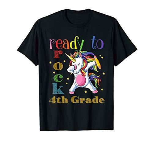 I'm Ready To Rock 4th Grade Dabbing Unicorn Back To School T-Shirt