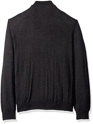Calvin Klein Men's Full Zip Merino Color Block Baseball Sweater