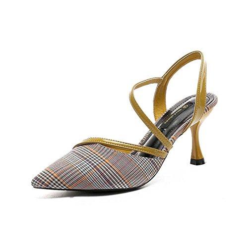 cavit Punta Sandalo Scarpe Donna Fine con da Moda Singolo Sandalo Estate Basso Nuova Coreana Aiuto ZZ604vq