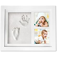 CareTreasure Baby Boy Girl Handprint Footprint Picture Frame - Cast Clay Imprints of Baby's Hands & Feet in Cute Wood Photo Keepsake Kit - Ideal Baby Shower Registry Gift for New Mom Dad & Grandparent
