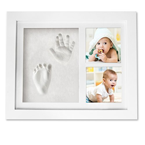 Handprint Footprint Picture Frame Kit - Baby Shower Registry Gift Decorations Photo Frame For Newborn Girl Boy - Cast Clay Imprint of Kids Hands & Feet in Wood Keepsake Box - Cute Room & Nursery Decor (Cement Plaster New)