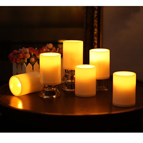GiveU Flameless Outdoor LED Candle Set, Battery Operated Plastic Pillar Flickering Candle Light With Timer, 3 x 4