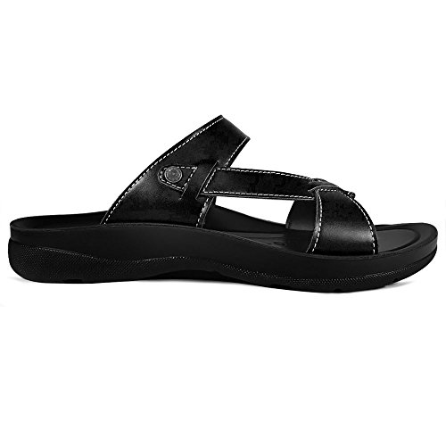 AEROTHOTIC Original Orthotic Comfort Slip On Sandals and Flip Flops with Arch Support for Comfortable Walk (US Women 11, Thistle Black) by AEROTHOTIC (Image #4)