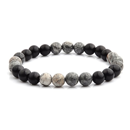Wide Stretch Beaded Bracelet (Crucible Grey Jasper Stone and Ebony Wood Beaded Stretch Bracelet (8mm Wide))