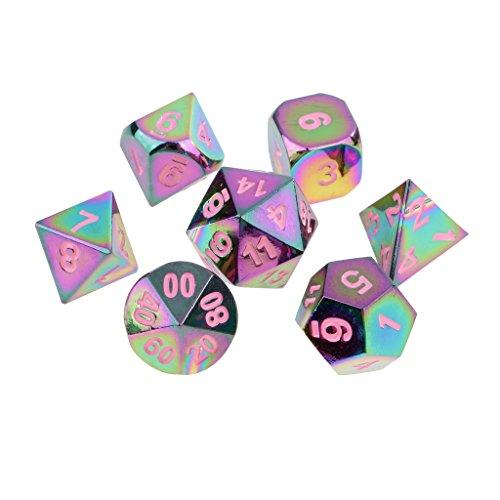 Jiliオンラインのセット7レインボー亜鉛合金multi-sided Diceピンク番号ボード車パーティーゲームアクセサリー0.62インチの商品画像