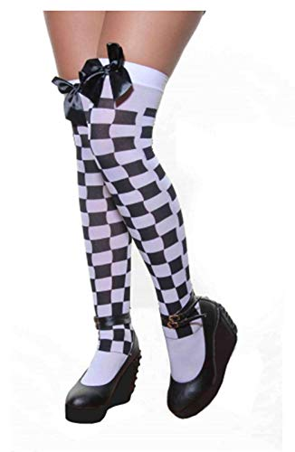 Womens Hold Up Over The Knee Stocking With Bow Ladies Fancy Stag Party Accessory/White Black Checkered Stocking With Black ()