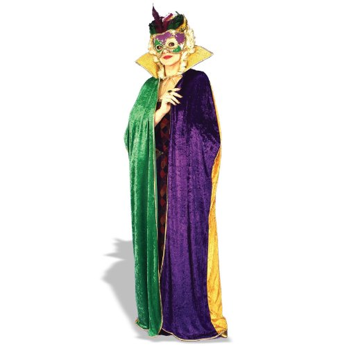 [Forum Full Length Mardi Gras Cape, Green/Gold/Purple, Adult] (Mardi Gras Costumes Amazon)
