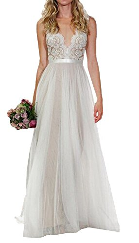 M_Eshop Women's Lace Chiffon A-Line Long Maxi Dress Evening Wedding Bridesmaid Gown V-Neck (Tag Size L=US M)