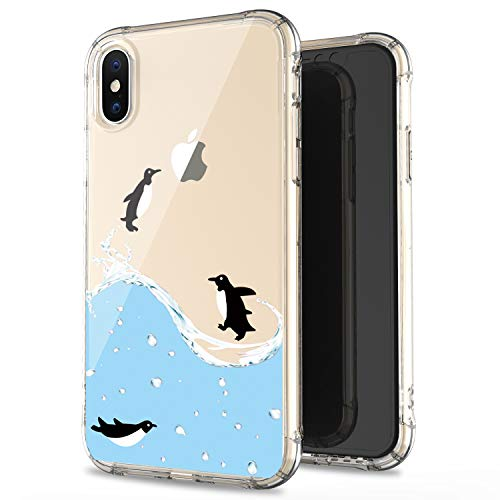 JAHOLAN iPhone X Case iPhone Xs Amusing Whimsical Design Clear Bumper TPU Soft Case Rubber Silicone Cover Phone Case for iPhone X iPhone Xs - Black Penguin Fly (Penguin Case Design Silicon)