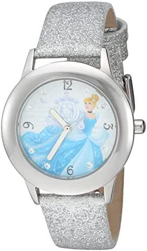 Disney Girl's 'Cinderella' Quartz Stainless Steel and Leather Automatic Watch, Color:Silver-Toned (Model: W002936)