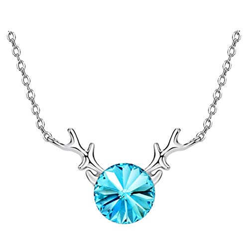 (S925 Silver Buckhorn Blue Crystal Rhinestone Long Chain Necklaces&Pendants 2019 New Brand Gifts)
